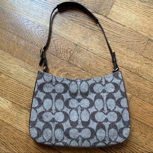 Coach Vintage Logo Brown Wool Hobo Shoulder Bag